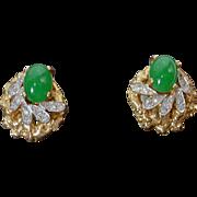 Beautiful Joseph Mazer Faux Gold and Rhinestone Clip On Earrings, 1960's