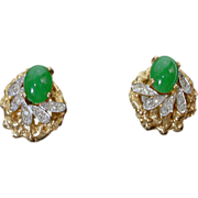 Beautiful Joseph Mazer Faux Gold and Rhinestone Clip On Earrings, 1960's