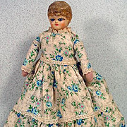 "Antique Paper Mache 9"" Lady Doll with Glass Inset Eyes, 1900's"