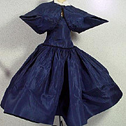 Vintage Madame Alexander Cissy Navy Taffeta Cocktail Dress and Stole, 1950's