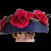 Vintage Madame Alexander Cissy Size Large Summer Hat, 1950's