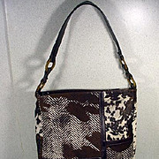Longchamp Stenciled Fur and Leather Handbag, Paris