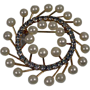 Vintage Marvella  Faux Pearl and Rhinestone Brooch, 1950's