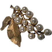 Vintage Trifari Gold Tone and Faux Pearl Brooch, 1960's