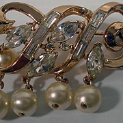 Vintage Trifari Gold Tone, Rhinestone and Faux Pearl Brooch, 1950's