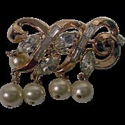Vintage Trifari Gold Tone, Rhinestone and Faux Pearl Brooch, 1950's