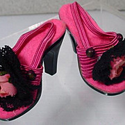 Vintage Madame Alexander Cissy Shoes with Black Lace and Rose Accents, 1950's