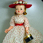 Vintage Madame Alexander Cissy Doll in Polka Dot Ensemble, 1950's