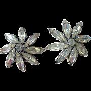 Vintage Weiss Rhinestone Flower Clip On Earrings, 1950's