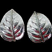 Vintage Trifari Silver-Tone Clip On Leaf Earrings 1970's