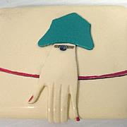 Art Deco Celluloid Cigarette Case w/ Cloche Hat/Hand Clasp