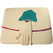 Art Deco Celluloid Cigarette Case w/ Cloche Hat/Hand Clasp - Red Tag Sale Item