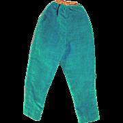 Vintage Madame Alexander Cissy Turquoise Velvet Pants, 1950's
