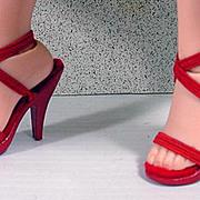Vintage Madame Alexander Elise Red Spike High Heel Shoes, 1950's