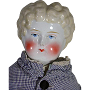 """Antique China Head Doll 23"""" Tall in Wonderful Antique Clothing, 1800's"""