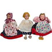 3 Cloth 4 Inch Dolls from the 1930's made in the Soviet Union