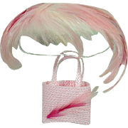 Madame Alexander Cissy Size Pink Feathered Cocktail Hat and Purse