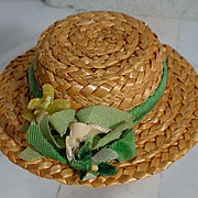 "Vogue 8"" Ginny Straw Hat with Flowers, 1950's"