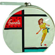 Vintage  Francie Mattel Mod Hat Box Vinyl Case, 1965!