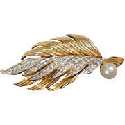 Vintage Faux Gold Tone and Rhinestone Brooch, 1960's