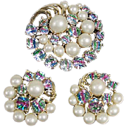 Brooch and Earring Set, Auroro Borealis and Simulated Pearls, 1950's