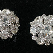 Vintage 1950's Kramer Rhinestone Clip On Earrings
