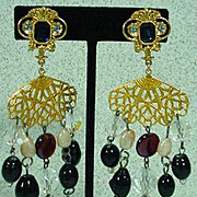 1980's Runway Poured Glass Chandelier Earrings