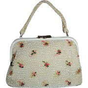 Vintage Ladies White Summer Beaded Purse, 1950's