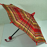 Vintage Plaid Doll Umbrella, 1940's