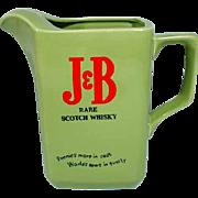 J&B Whisky Ceramic Water Pitcher, 1950's Japan