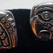 Vintage Eagle Head Men's Cuff Links, 1960's