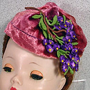 Stylish Vintage Madame Alexander Cissy Size Cloth Hat, 1950's