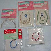 Lot of Vintage Premier Doll Jewelry MOC, 1950's-60's