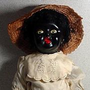 Antique English, Black Bisque Doll Circa 1920