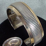 14K Gold and Sterling Silver Leonard Schmallie Cuff Bracelet