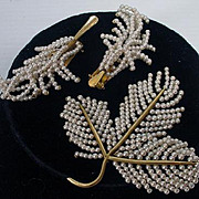 Delicate  Faux Pearl Leaf Brooch & Earring Set, 1960's