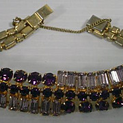Vintage Purple and Clear Rhinestone Bracelet, 1950's