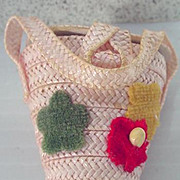 Vintage Madame Alexander Cissette Pink Straw Purse, 1950's