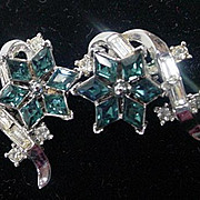 Early 1950's Elegant Trifari Rhinestone Earrings.
