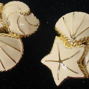 1980's Trifari Clip On Enamel Summer Earrings