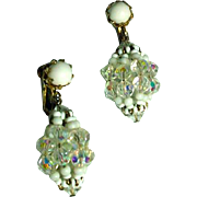 Vintage Vendome Summer Clip On Drop Earrings, 1960's