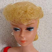 Mattel #6 Light Blond Barbie Ponytail, Peach Lips, 1963