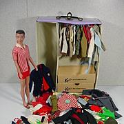 Vintage Mattel Ken Doll w/Truck and Large Wardrobe, 1962-3