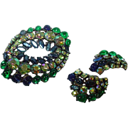 Vintage ART Rhinestone Brooch and Earring Set, 1950's