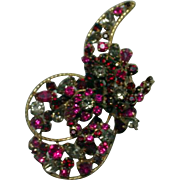 Beautiful, Vintage Vendome Abstract Rhinestone Flower Brooch, 1950's