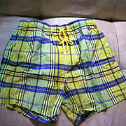 Men's Bullock and Jones Madras Swim Trunks, 1990's Italy