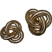 Napier Faux Gold Rope Clip on Earrings, 1980's
