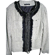 ANNE CARSON, Zip Front Jacket, with Fur and Leather Trim