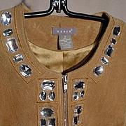 KENAR, Genuine Suede Jacket with Rhinestone Trim