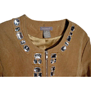 KENAR, Genuine Suede Jacket with Rhinestone Trim